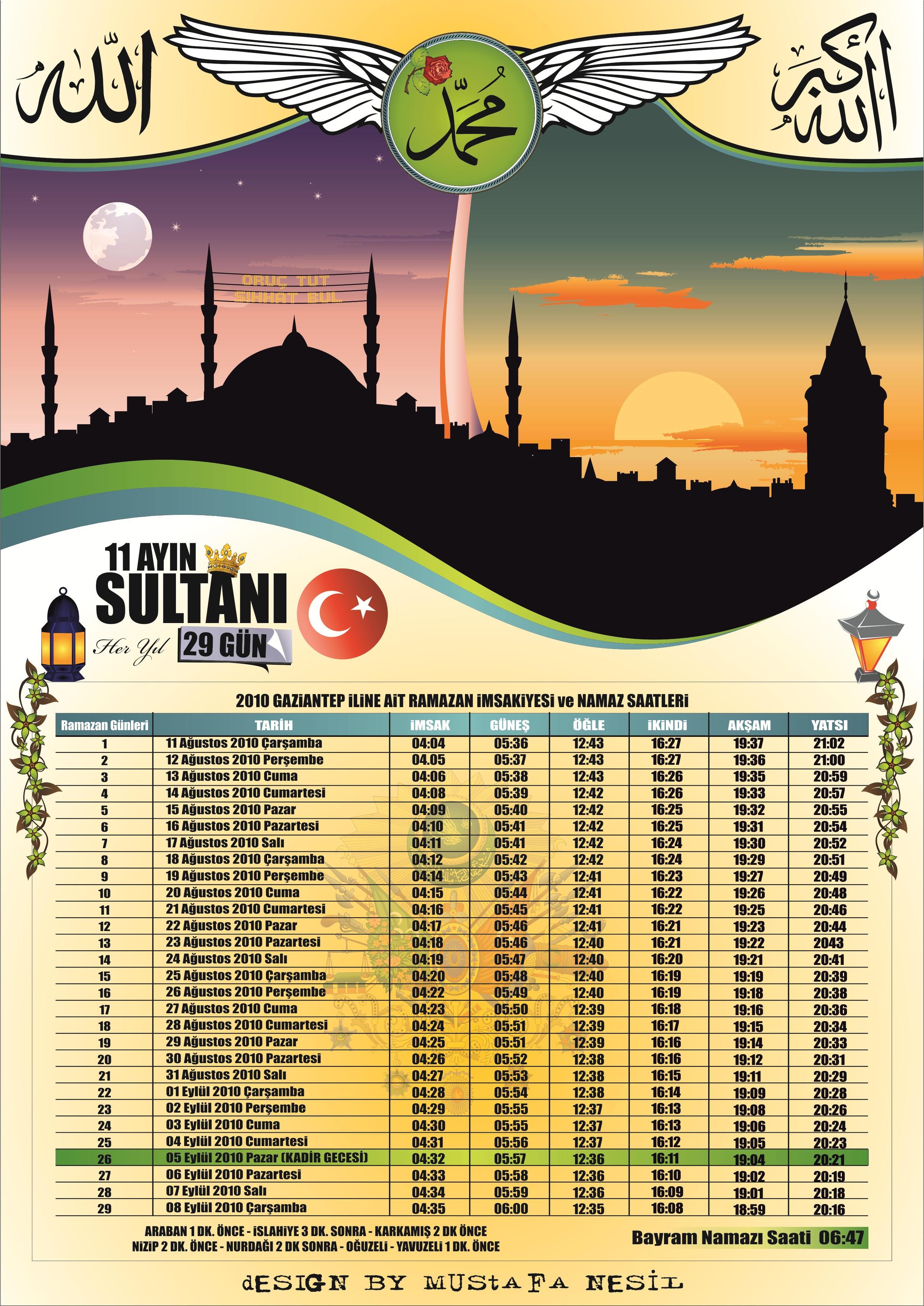 Ramazan imsakiye