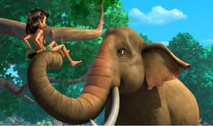Nuzzling an elephant
