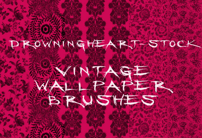 vintage wallpaper brushes by drowningheart-stock