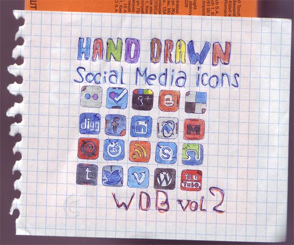 Set of 20 Hand Drawn Social Media Icons - WDB vol2