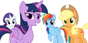 Tired Twi, Aj, Rarity and Rainbow