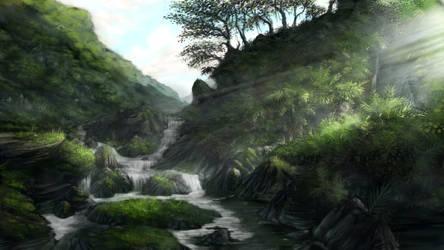 Jungle waterfall 1 of 3 by Sketchbookuniverse