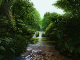 Jungle Waterfall 2 of 3 by Sketchbookuniverse