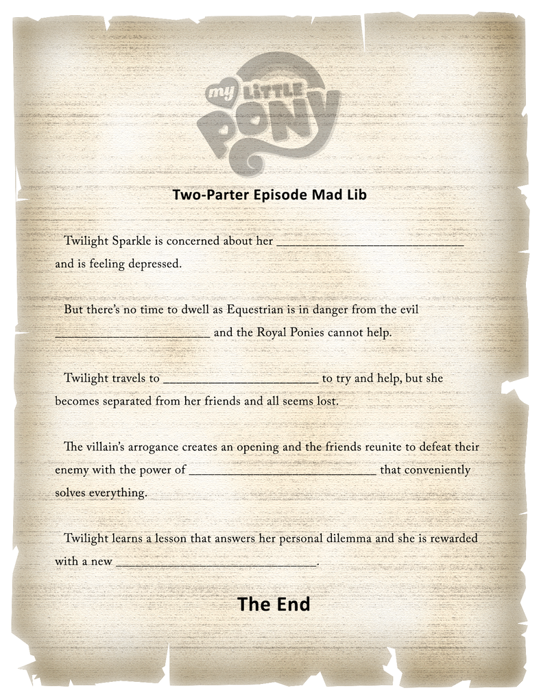 MLP Two-Parter Mad Lib by MLP-Silver-Quill
