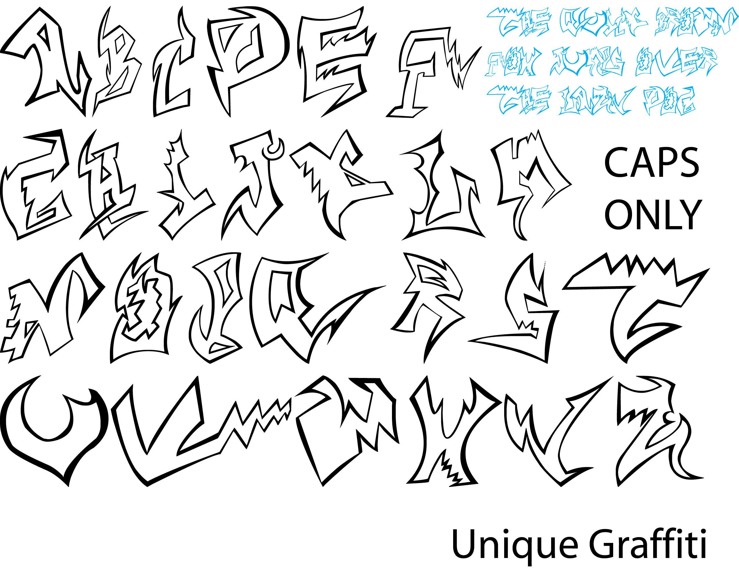 Unique Graffiti By Artrias Semi Wildstyle Alphabet