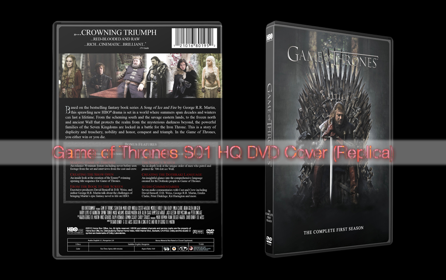 Game Of Thrones S01 HQ DVD Cover (Replica) By Adamhlohan