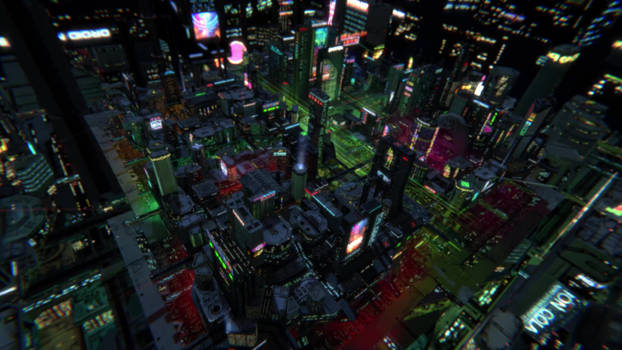 Low poly realtime scifi city