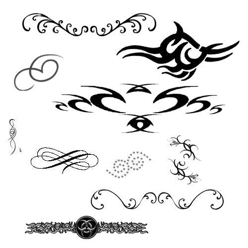 Swirl n Tattoo Brushes by lunabeam18