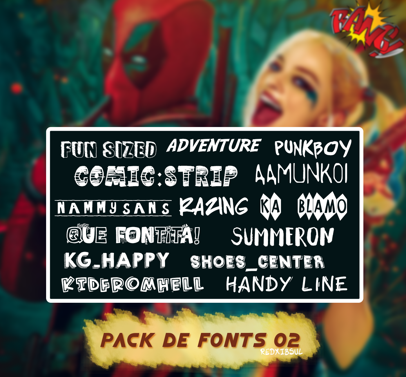 Pack font 02 Estilo comic by Redxibsul