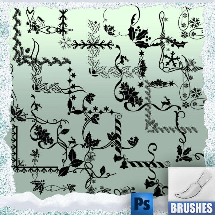 christmas brushes corners by roula33