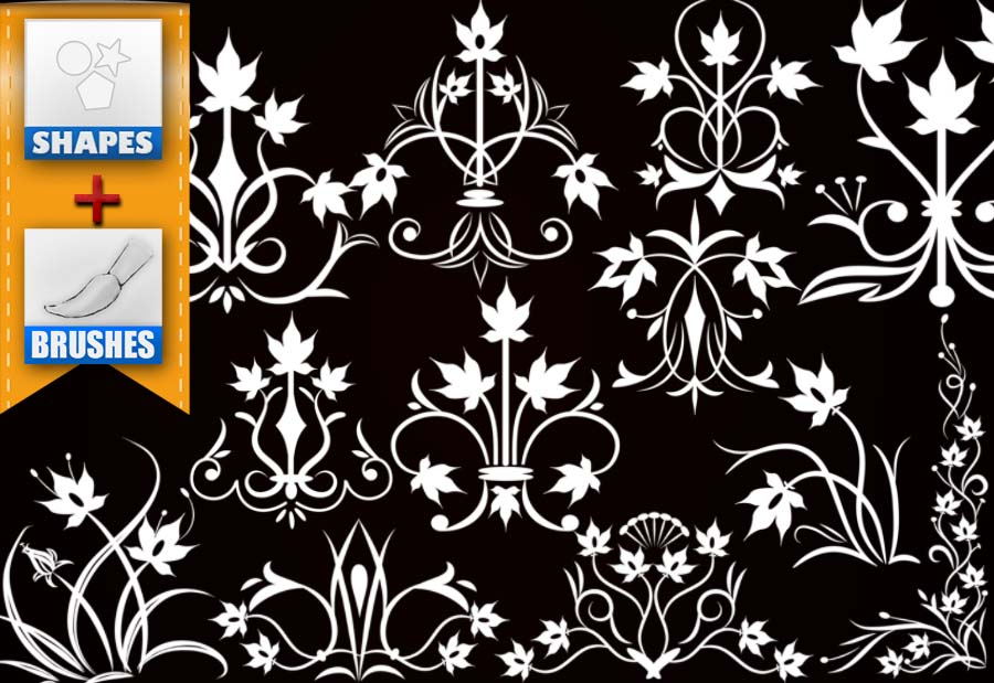 flowers decorating brushes and shapes