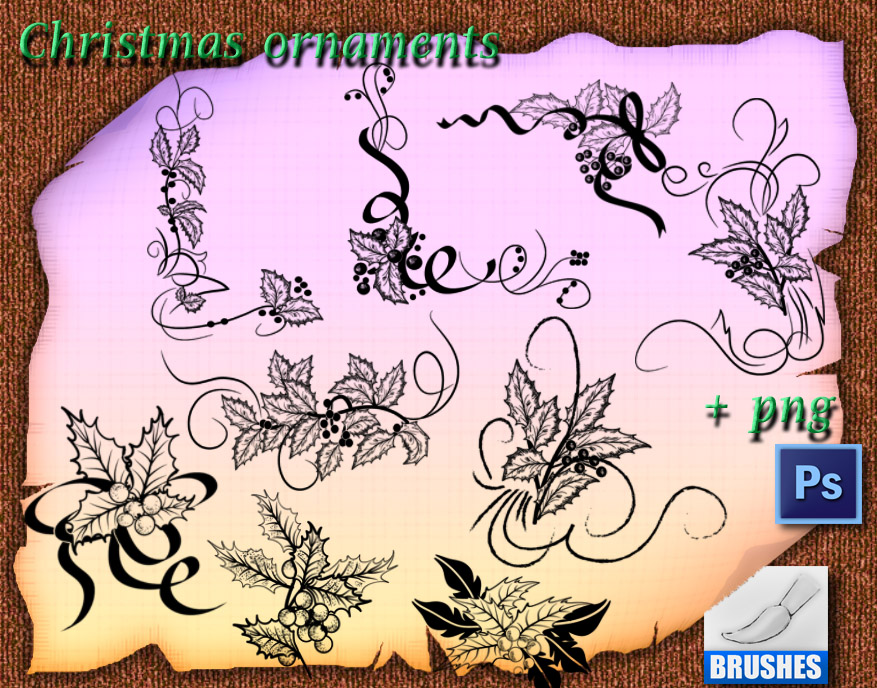 Christmas ornaments brushes by roula33