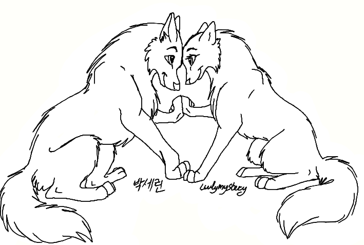 Free wolf couples lineart by luvlymystery on deviantart for Cartoon wolf coloring pages
