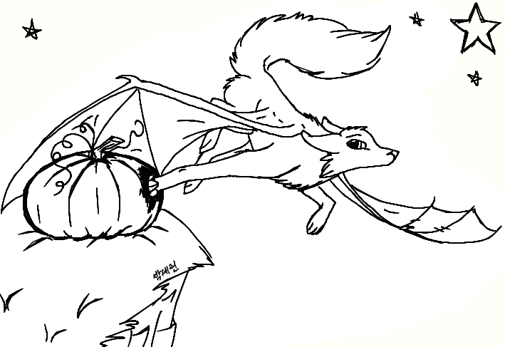 halloween demon wolf line art by luvlymystery - Halloween Line Drawings