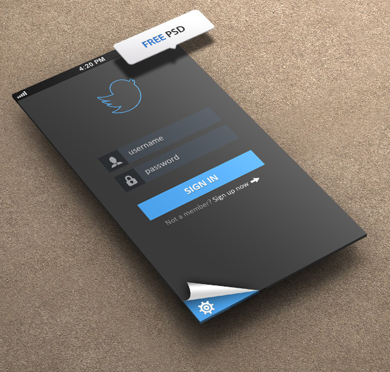 Twitter Login for iPhone 5 Retina Ready - FREE PSD