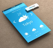 Just Weather for iPhone 5 Retina Ready - FREE PSD