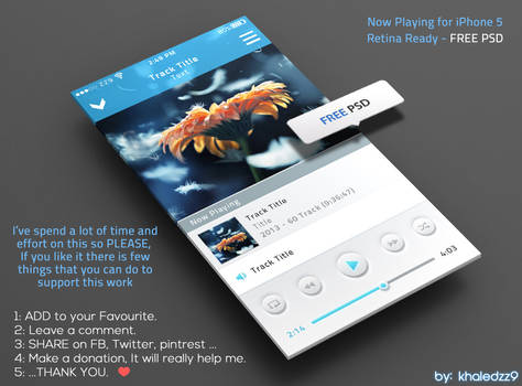 Now Playing for iPhone 5 Retina Ready FREE PSD