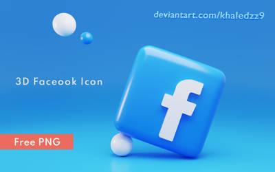 3D Facebook Icon PNG by khaledzz9