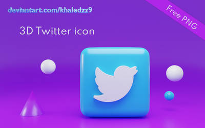 3D Twitter Icon - Free PNG by khaledzz9