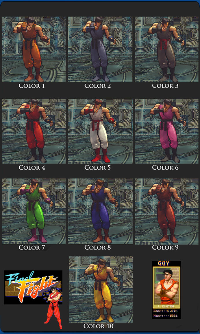 SSIV Guy Final Fight Retro 10 color  pack 1.1 by monkeygigabuster