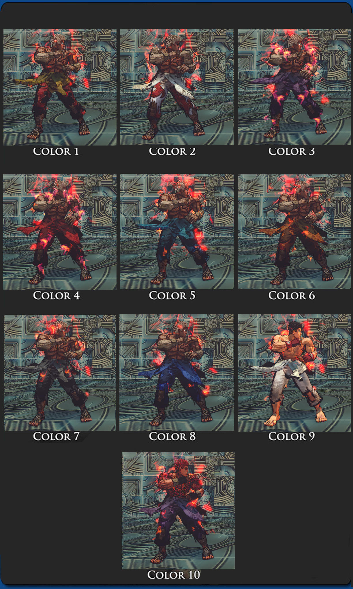 SSFIV Evil Ryu Asura's Wrath Vol 2 10 colors pack by monkeygigabuster