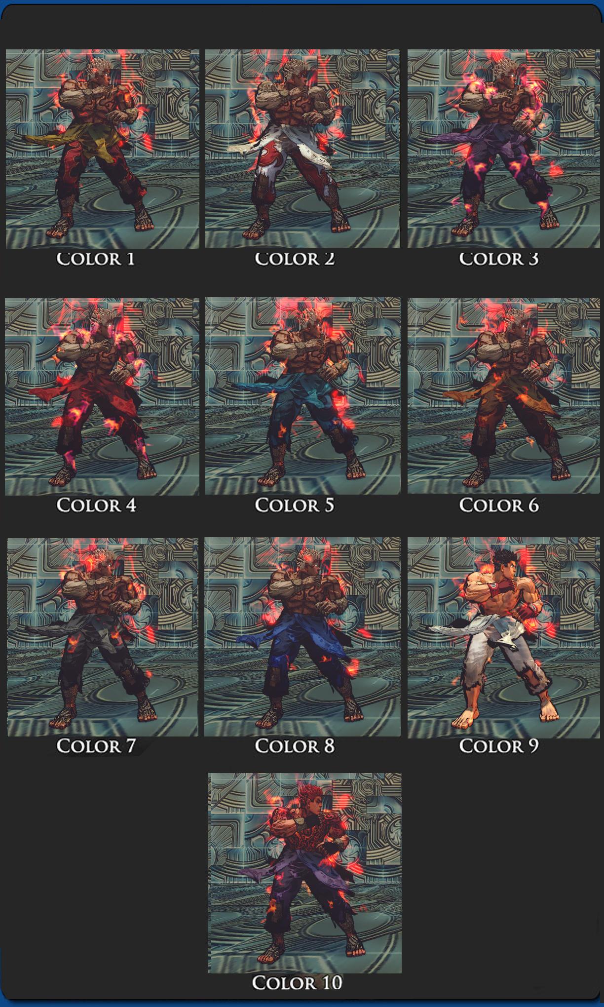 SSFIV Evil Ryu Asura's Wrath Vol 2 10 colors pack by monkeygigabuster
