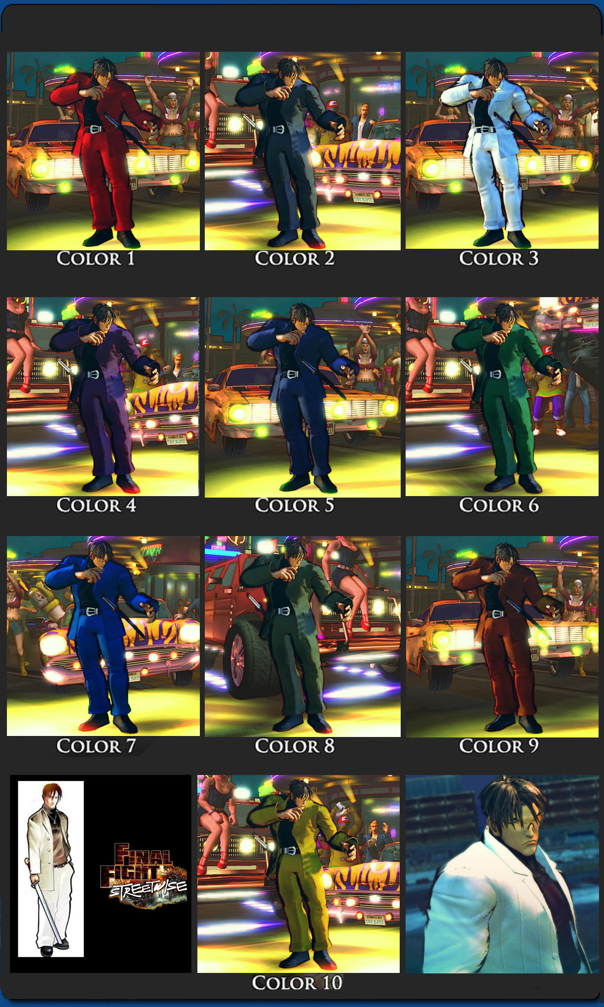 SSFIV Yakuza Guy FFSW 10 color pack by monkeygigabuster