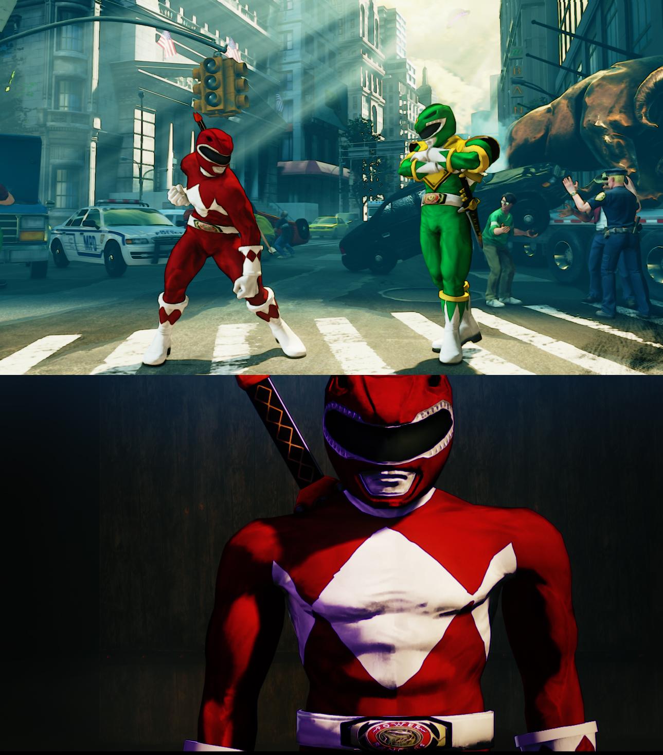 SFV Nash as Mighty Morphin Red Ranger