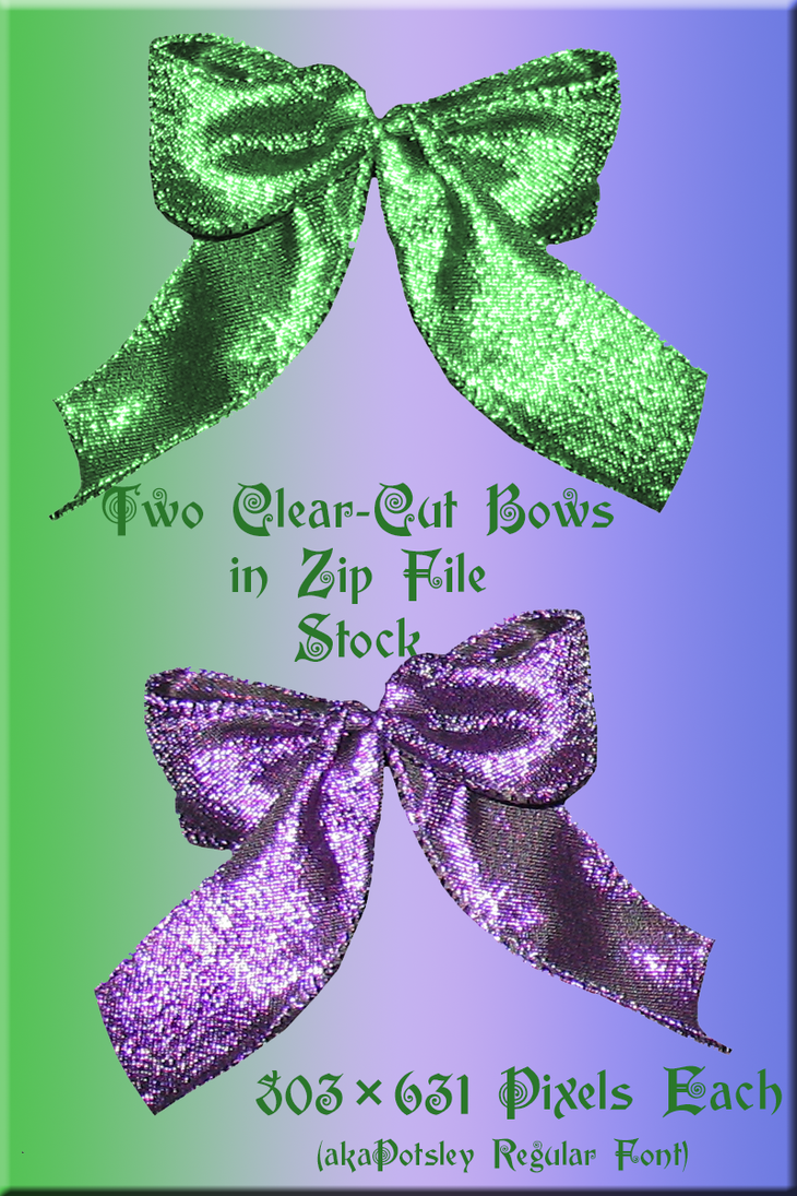 Purple and Green Clear-Cut Bows by WDWParksGal-Stock