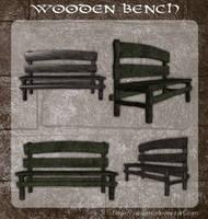 3D Wooden Bench by zememz