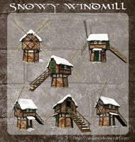 3D Snowy Windmill by zememz