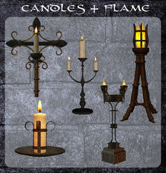 3D Candles and Flame