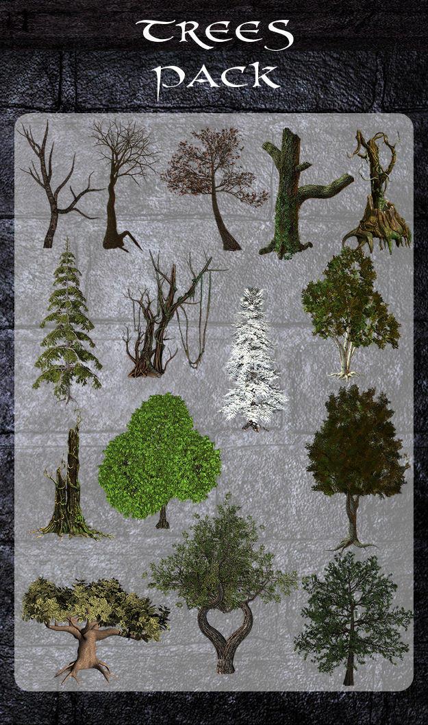 3D Trees Pack by zememz