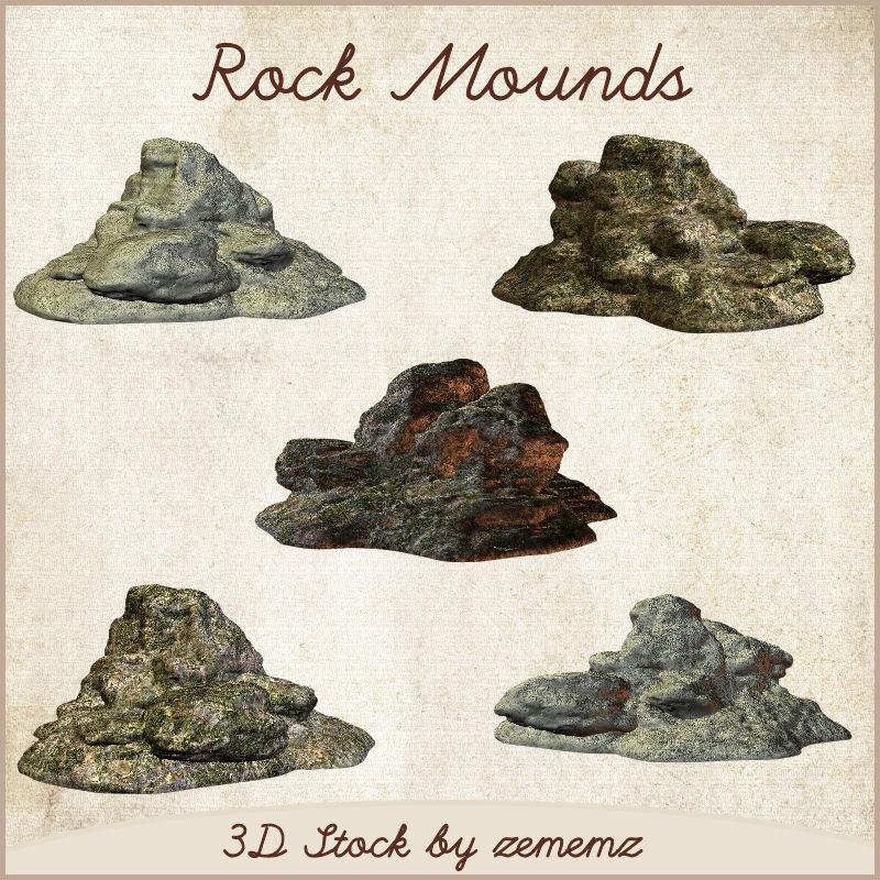 3D Rock Mounds by zememz