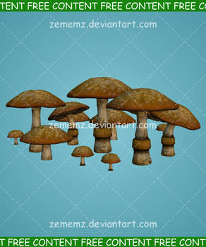 Mushroom Cluster 001 - FREE Content