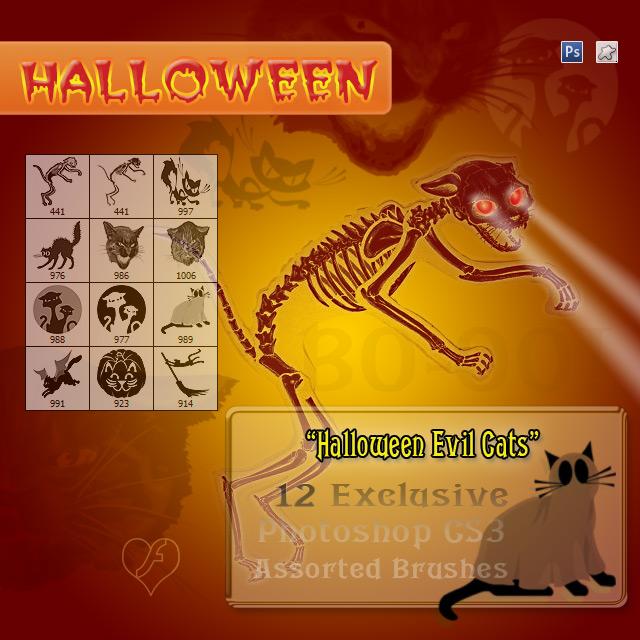 12 Evil Cats - Halloween Stuff by flashtuchka