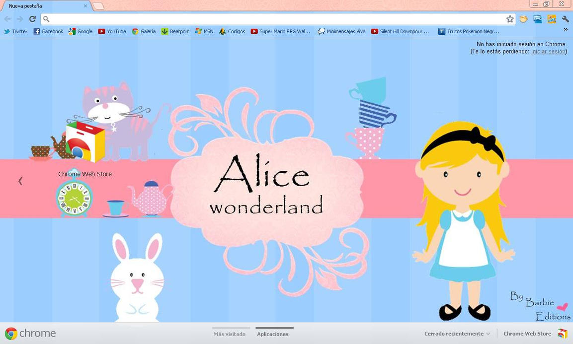 tema de google chrome Alice wonderland by BarbieEditionsYT