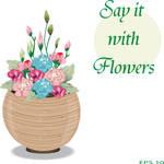 Wooden Flower Basket Background Template