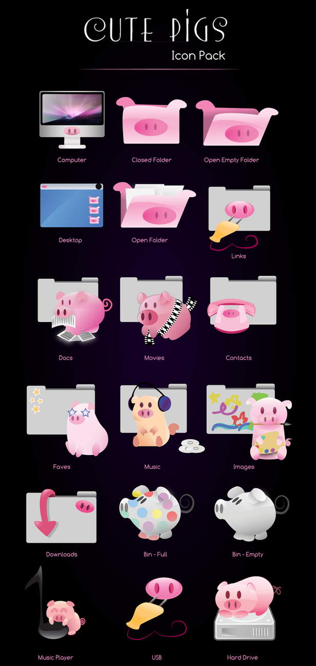Cute Pigs Icon Pack by ManoelaWings