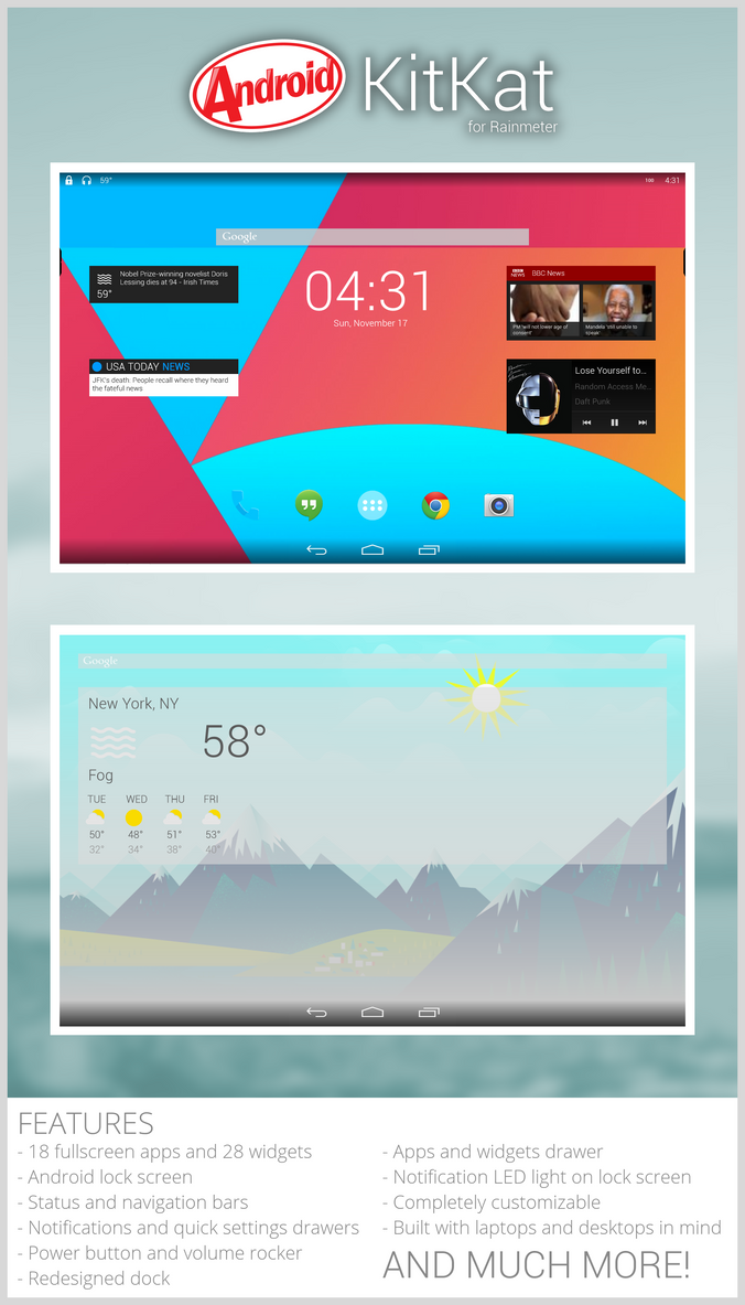 Android KitKat for Rainmeter by ScoobSTi