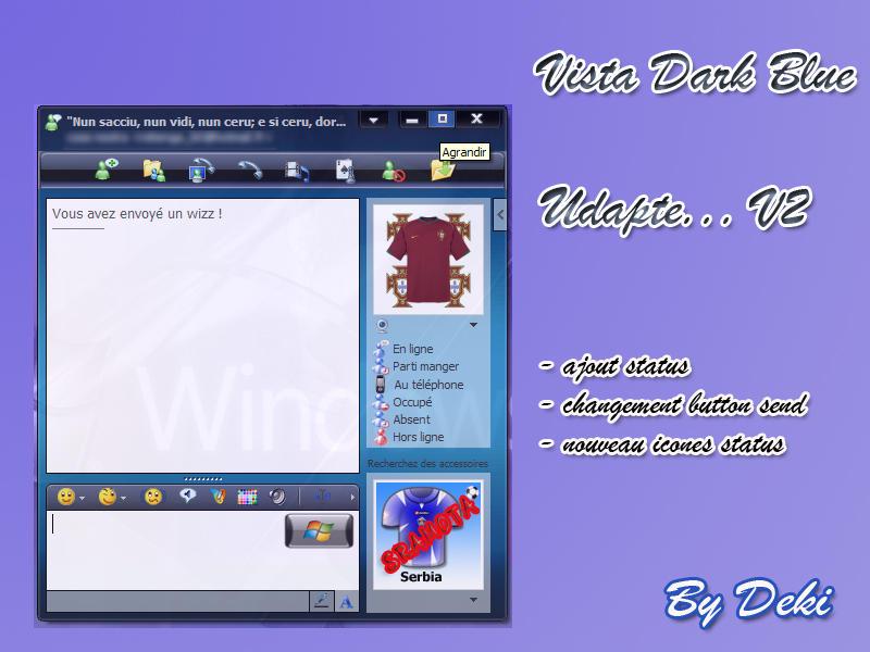 Windows Live Messenger Vista Dark-Blue Skin Ekran Görüntüleri - 1