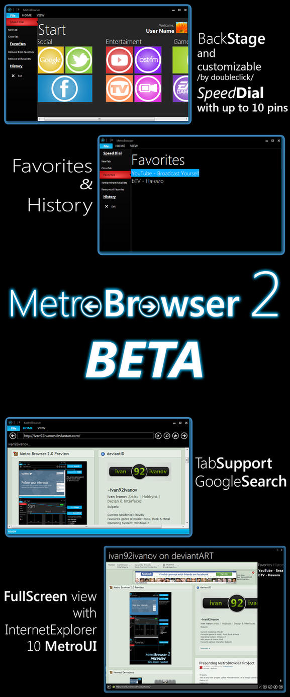 Metro Browser 2.0 Open Beta by ivan92ivanov