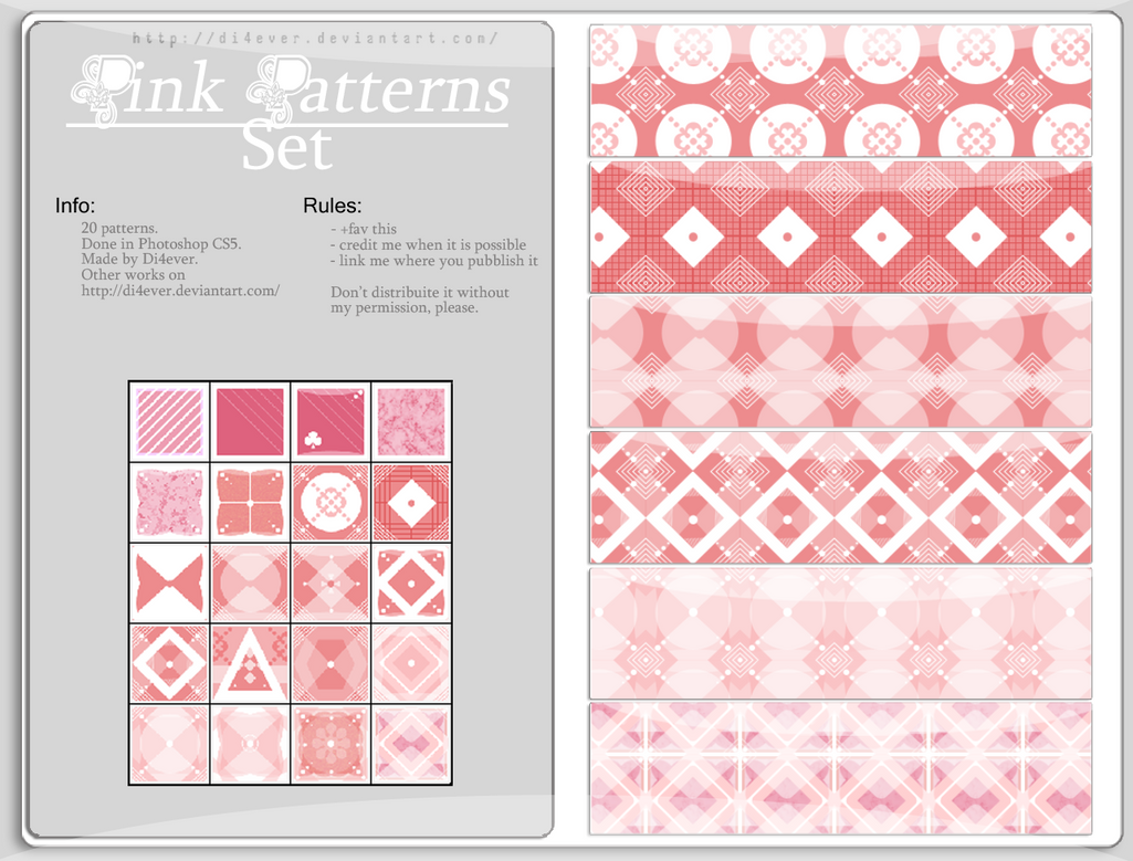 FREE - Pink Patterns Set by MissDidichan on DeviantArt