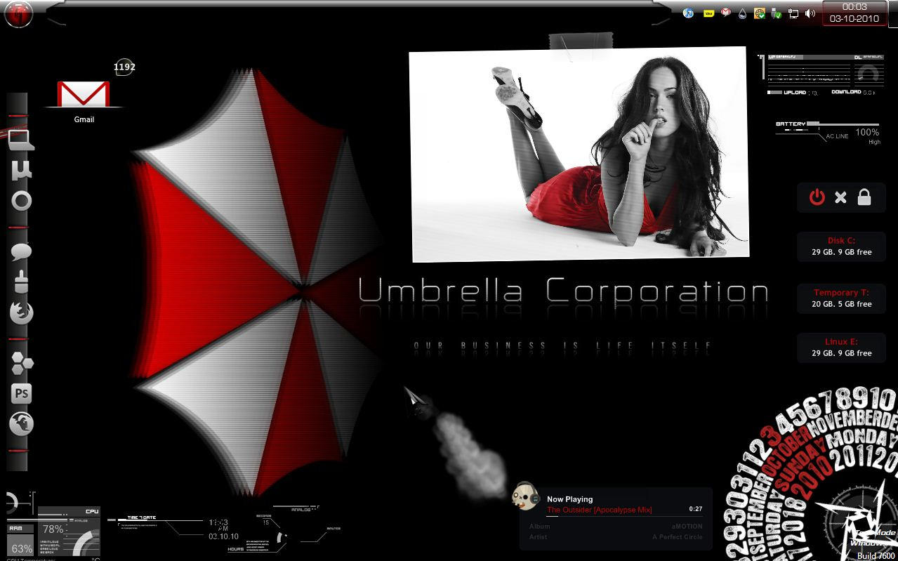 windows 7 log screen umbrella corporation