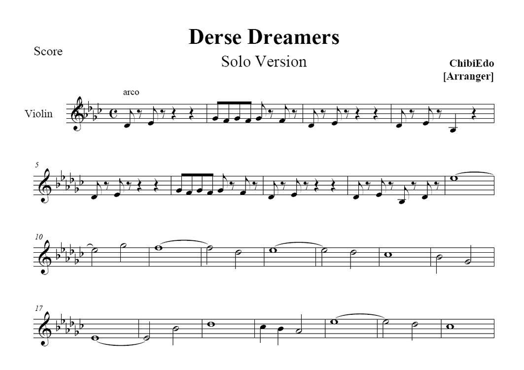 Derse dreamers for one violin sheet music by chibiedo on deviantart hexwebz Gallery