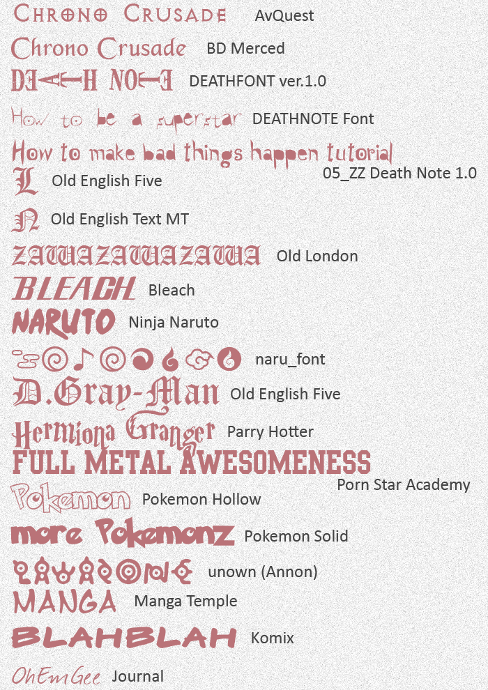 Anime Fonts -updated by ayako-chibi-chan on DeviantArt