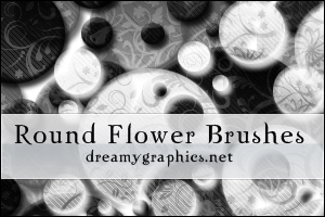 Round Flower Brushes For Gimp by inge123