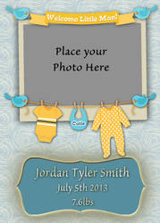5x7 Welcome Baby Boy Card 1