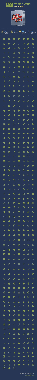 500 vector icons + icon generator