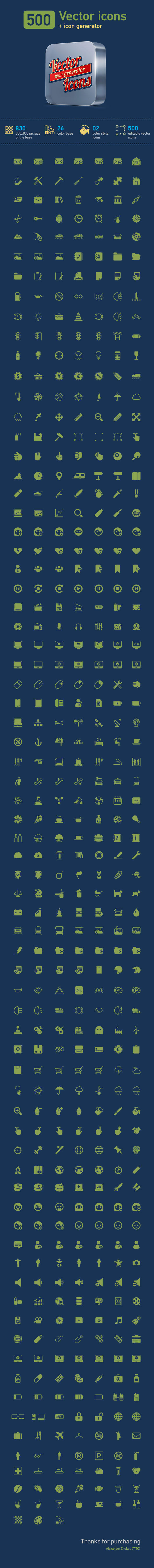 500 vector icons + icon generator by TIT0